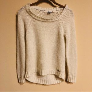 Roxy white oversized sweater subtle sparkle XS